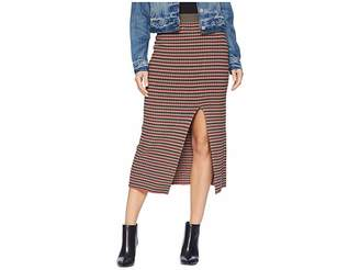 BCBGMAXAZRIA Multicolor Stripe Rib High-Waist Pencil Skirt Women's Skirt