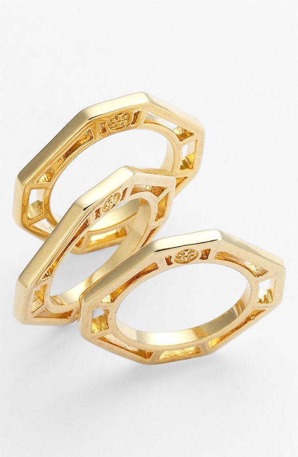 Tory Burch 'Audrina' Logo Stack Rings (Set of 3)