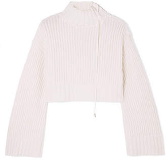 Dion Lee Aviation Cropped Ribbed Wool-blend Turtleneck Sweater - Ivory