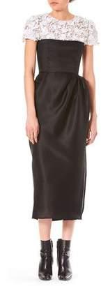 Carolina Herrera Jewel-Neck Cap-Sleeve Embroidered Top Silk Wrap Cocktail Dress