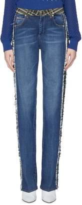 Sonia Rykiel Frayed tartan plaid stripe outseam jeans