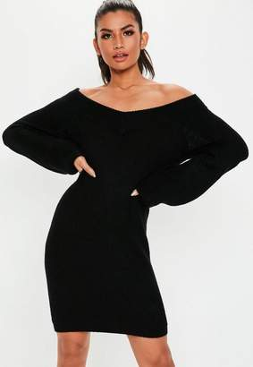 Missguided Tall Black V Neck Off Shoulder Sweater Dress
