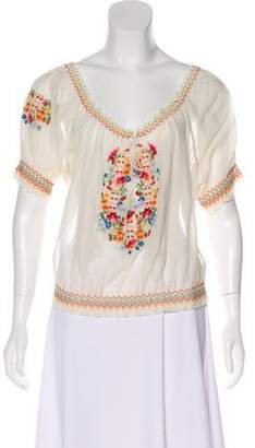 Joie Embroidered Short Sleeve Blouse