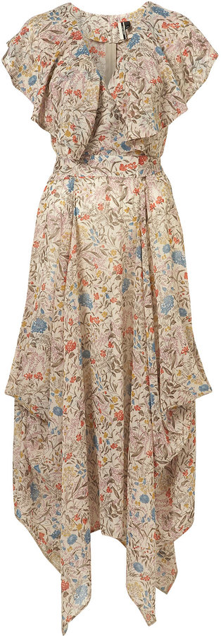 Floral Print Cape Maxi Dress
