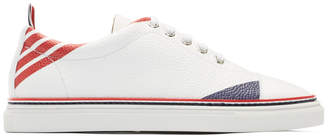 Thom Browne White Repp Stripe Straight Toe Cap Sneakers