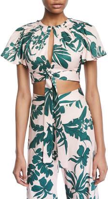 Alexis Lali Tropical-Print Crop Top