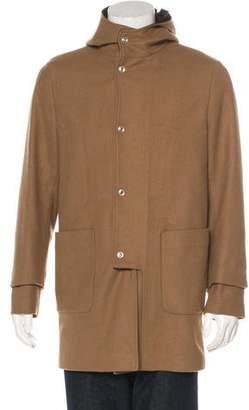 Balenciaga Wool Leather-Trimmed Coat