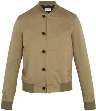 Saint Laurent Contrast-trim cotton-blend twill bomber jacket
