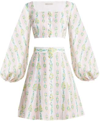 Emilia Wickstead Ines floral-print linen crop top and skirt