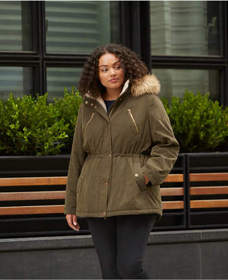 Nautica Plus Size Faux-Fur-Trim Fleece-Collar Hooded Anorak Coat