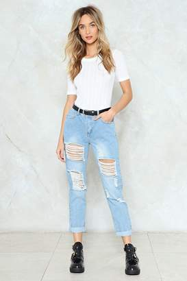 Nasty Gal Here Comes Trouble Distressed Jeans