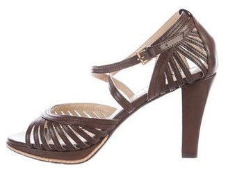 Adrienne Vittadini Leather Multistrap Sandals $85 thestylecure.com