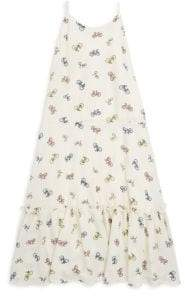 Un Deux Trois Girl's Bicycle-Print Chiffon Maxi Dress