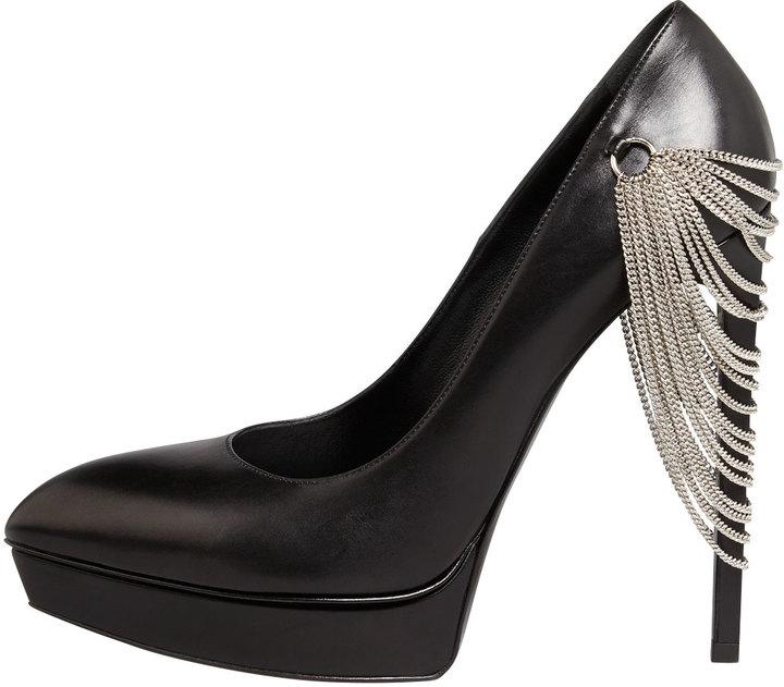 Saint Laurent Janis Chain-Heel Pointed Pump, Black