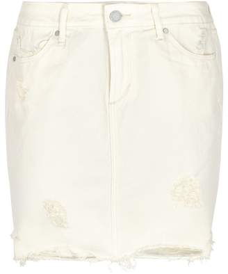 Articles of Society Stacy Ivory Distressed Denim Skirt