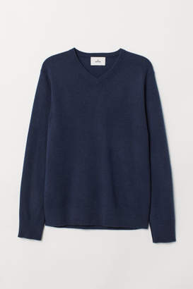 H&M V-neck Cashmere Sweater - Blue
