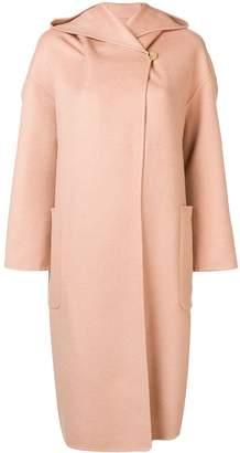 Max Mara hooded shawl collar coat