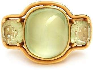 BRIGID BLANCO Prehnite, beryl & yellow-gold ring