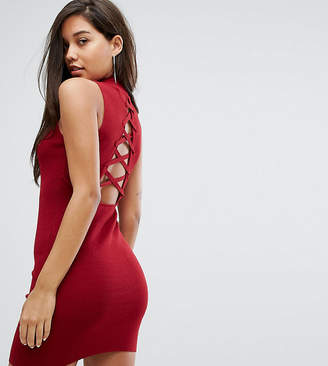 Parallel Lines High Neck Knitted Dress With Lace Up Back