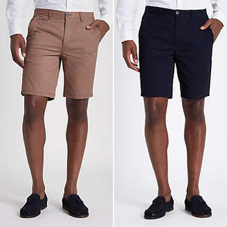 River Island Navy and tan slim fit chino shorts multipack