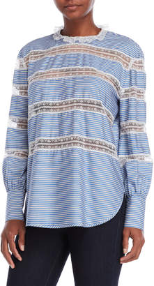 Sandro Marthe Striped Lace Trim Top