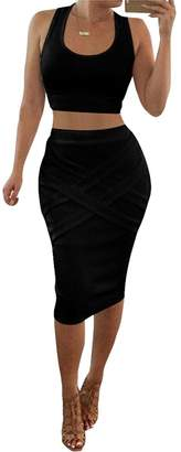 c6a4e40bf3 MOHSLEE Women's Crop Top Midi Skirt Outfit 2 Piece Bodycon Bandage Party  Dress