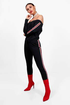 boohoo Petite Sports Trim Lounge Jumpsuit