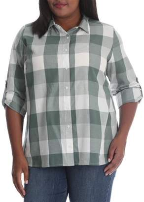Lee Women's Plus Long Sleeve Plaid Woven Shirt