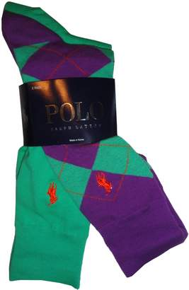 Ralph Lauren Men's Polo by 2 Pack of Socks and Purple Argyle/