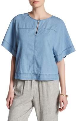 Susina Split Neck Flutter Sleeve Shirt