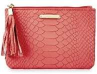 GiGi New York Python-Embossed Leather Small Zip Pouch