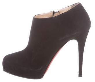 Christian Louboutin Suede Square-Toe Booties