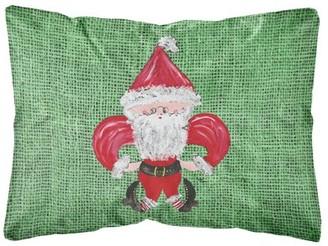 Caroline's Treasures Christmas Santa Fleur de lis Decorative Canvas Fabric Pillow