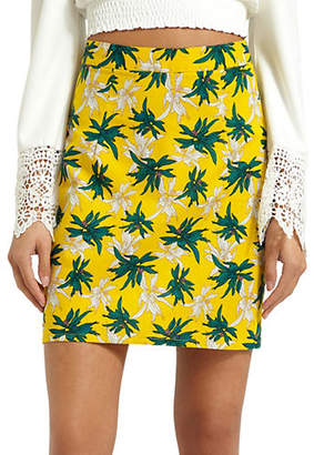 Missguided Tropical Floral-Print Mini Skirt