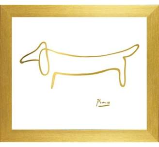 Buy Art For Less Famous Painting 'The Dog in Chic Gold Imitation Metallic' by Pablo Picasso Framed Graphic Art Print