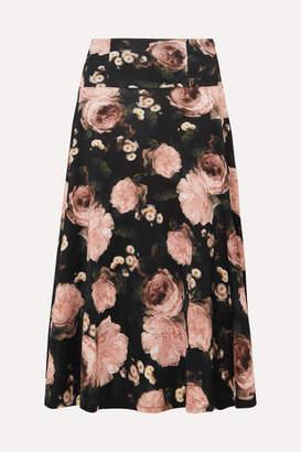 Erdem Elvin Floral-print Satin-jersey Midi Skirt - Black