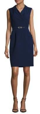 Ellen Tracy Sleeveless Belted Sheath Dress