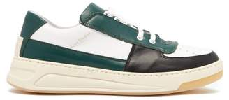 Acne Studios Perey Panelled Leather Low Top Trainers - Mens - Green Multi