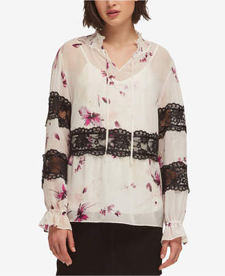 DKNY Lace-Trim Printed Blouse