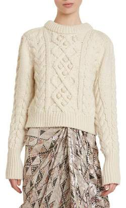 Isabel Marant Milford Cable-Knit Wool Crop Sweater