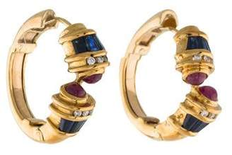 18K Diamond, Sapphire & Ruby Hoop Earrings