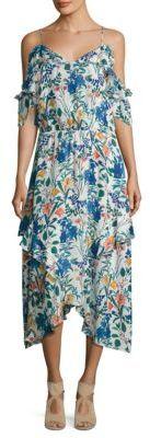 Parker Kam Cold Shoulder Floral Silk Dress $398 thestylecure.com