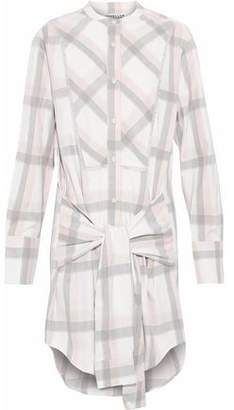 Derek Lam 10 Crosby Tie-Front Fringe-Trimmed Checked Cotton-Twill Shirt Dress