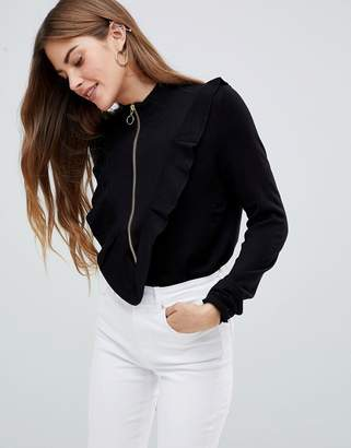 MBYM Zip Front Jumper With Ruffle Sleeve
