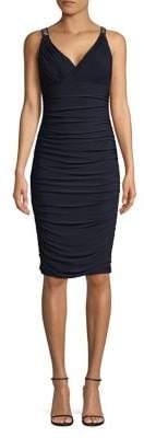 Eliza J Embellished Sleeve Ruched Sheath Dress