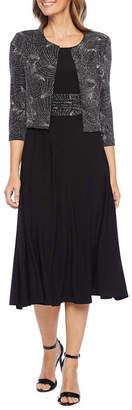 Jessica Howard 3/4 Sleeve Glitter Jacket Dress