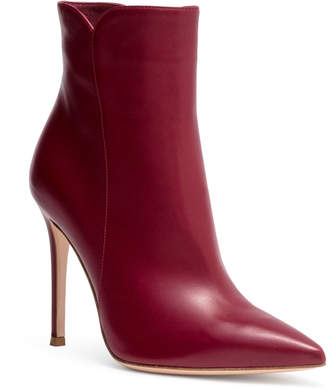 Gianvito Rossi Levy 105 burgundy leather booties