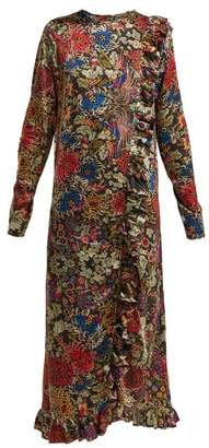 By Walid - Suna Antique Silk Dress - Womens - Black Print