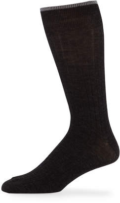 Neiman Marcus Men's Ribbed Crew Socks