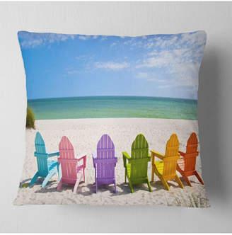 """Adirondack (アディロンダック) - Design Art Designart 'Adirondack Beach Chairs' Seashore Photo Throw Pillow - 16"""" x 16"""""""